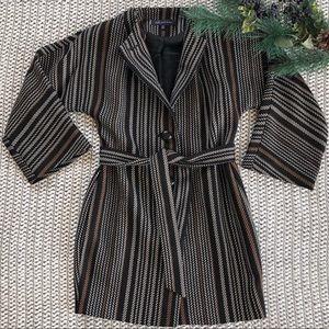Anne Klein | Striped Pea Coat Petite
